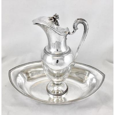 Ewer And Basin Empire, France 1798-1809, Sterling Silver 950 \\%