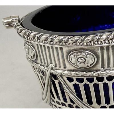 Confiturier George III Londres, 1776, Argent Massif Et Cristal Bleu