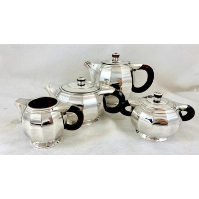 Art Deco Coffee Service, Sterling Silver, Delheid Frères, Brussels Circa 1925