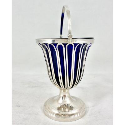 Confiturier George III, 1792 Sheffield, Argent Massif  et cristal bleu