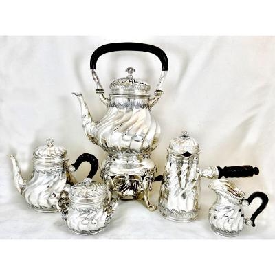 Coffee And Tea Set , Sterling Silver , Louis XV Style , Henri Lapparra, Paris  1920, Samovar
