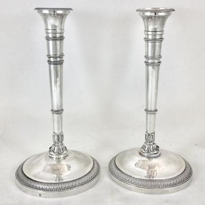 Pair Of Charles X Travel Candlesticks, Sterling Silver, Paris 1819-1938