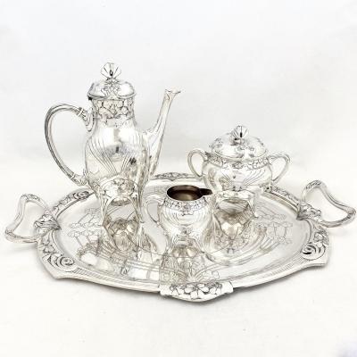 Coffee Set, Art Nouveau , Christofle, Gallia, Silver Plated
