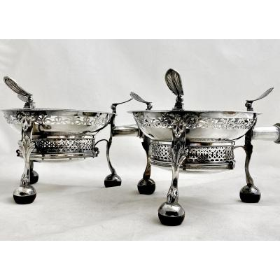 Pair Of Empire Stoves, France 1809-1819, Sterling Silver
