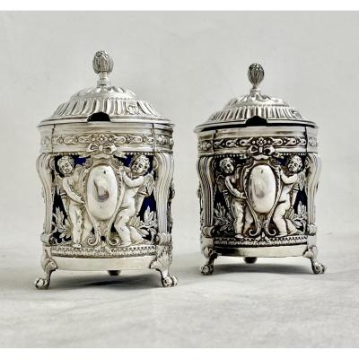 Paire Of Mustard Pots, Paris 1784, Sterling Silver , Neo-classical