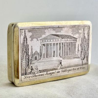 Boite à Priser, Vienne 1819, Argent Massif, Theseustempel Im Volksgarten