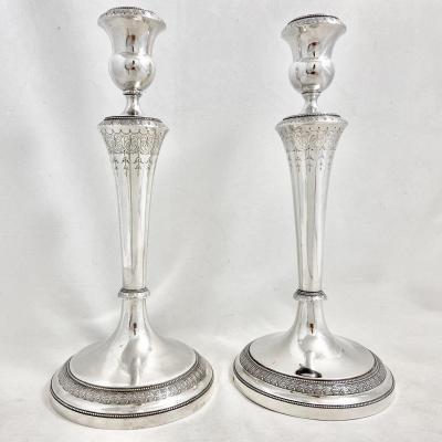 Pair Of Empire Candlesticks, Antwerp Around 1814-1822, Johannes Thomassen, Sterling Silver