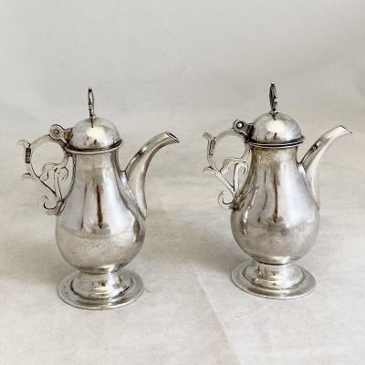 Paire De Burettes, Espagne 1680-1730, Argent Massif , Orfèvre Rosa, Paire D'ampoules
