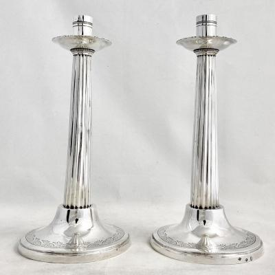 Pair Of Neoclassical Candlesticks In Sterling Silver, Ghent 1809-1814