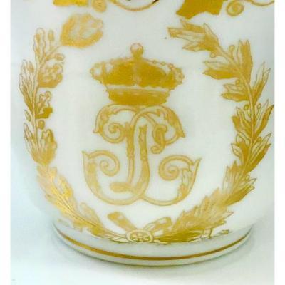 Two Cupsand Saucers Of  King Louis-philippe, Service Des Princes, Sèvres, Palais Des Tuileries