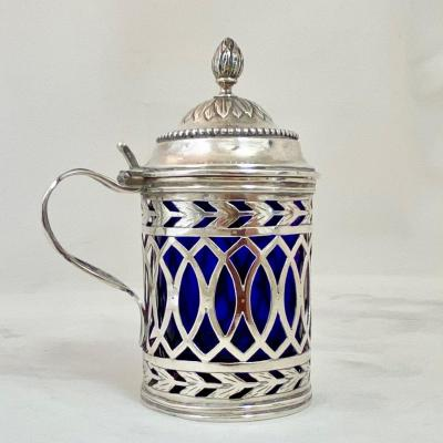 Louis XVI Mustard Pot In Sterling Silver, Brussels 1790