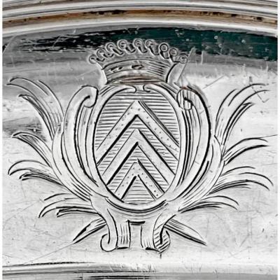 Plat Ovale, Paris 1744, Argent Massif , Orfèvre CL , 36 Cm