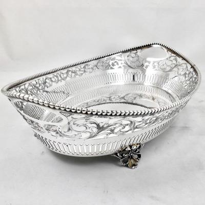 Bread Basket, Sterling Silver, Florence 1950s, Openwork And Engraved