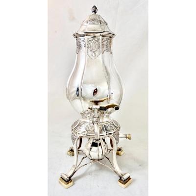 Sterling Silver Samovar Or Tea Urn , Belgium Around 1900