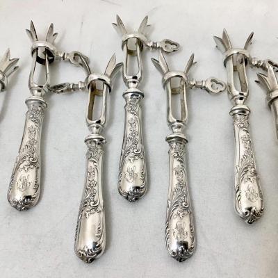 Series Of Silver Lamb Chop Handles Paris Circa 1890-1910