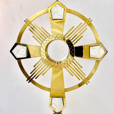 Art Deco Monstrance In Silver And Ivory, Delheid Frères Bruxelles
