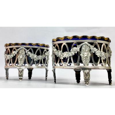Louis XVI Period Salt Stands, Period Cut Glass Interiors, Sterling Silver