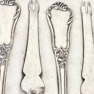 12 Lobster Forks , Sterling Silver, Wolfers, Brussels, Circa 1890-1910
