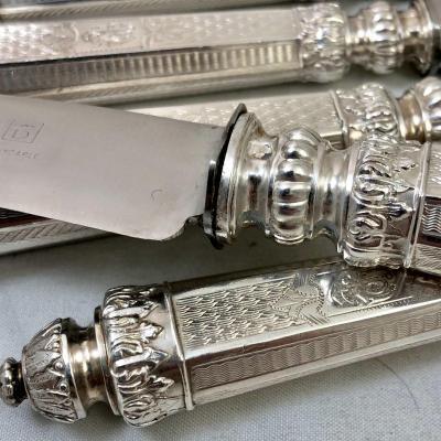 12 Et 12 Couteaux Napoléon III En Argent, France Vers 1850-1880