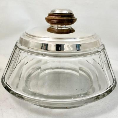 Art Deco Biscuit Box In Sterling Silver And Crystal. Wolfers Brussels Around 1940