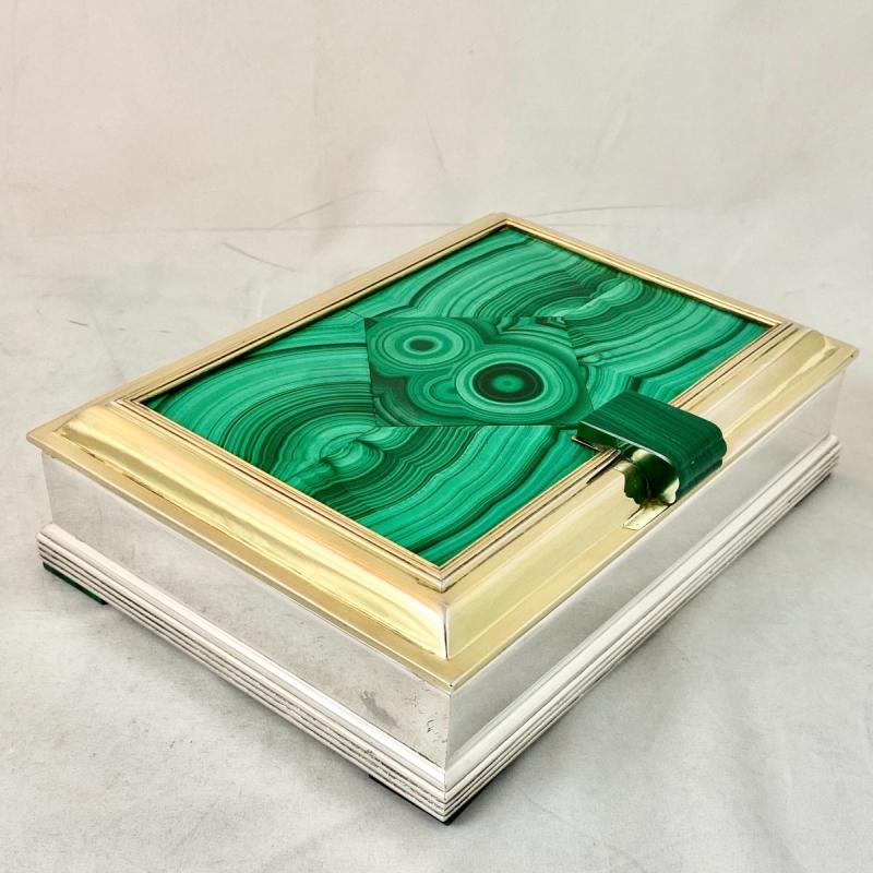 Art Deco Box, Wolfers, Malachite Marquetry, Silver And Vermeil, Around 1940-50-photo-2