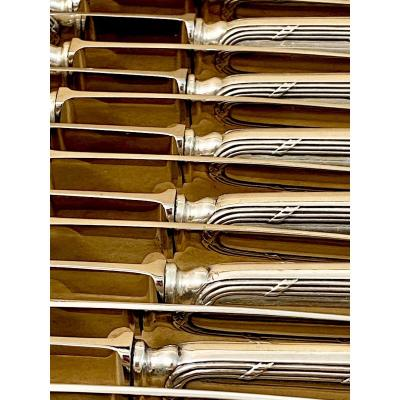 18 Silver Knives , Reeds And Ribbons , 1890-1910, Brussels