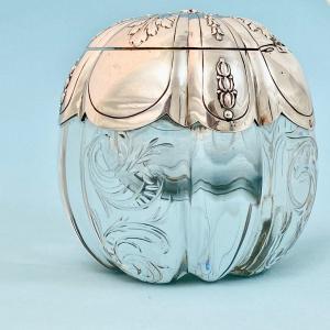 Encrier En Argent 950 ‰ Et Cristal Gravé , France,  XIXème