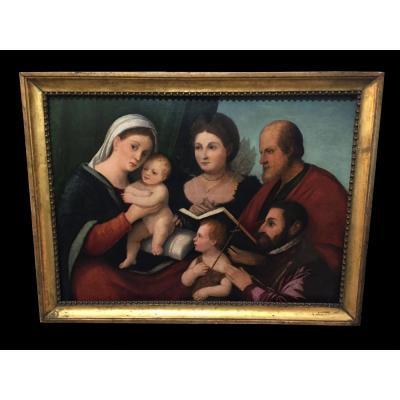 Peinture, Huile Sur Panneau, Représentant Madonna Avec Enfant, époque: 500