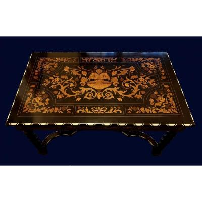 Inlaid Table / Desk In Various Woods, XIXth Century