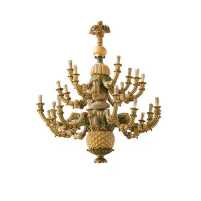 Large Particular Chandelier In Carved And Lacquered Wood