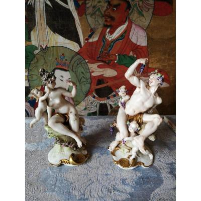 Pair Of Capodimonte Porcelain Groups By Giuseppe Cappè