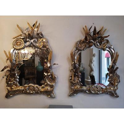 Important And Very Large Pair Of Mirrors In Sterling Silver 925