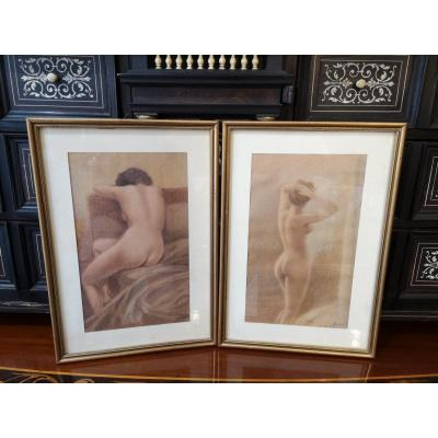 "Paintings Representing ""the Naked Study"" By Luigi Biggi From 1951"