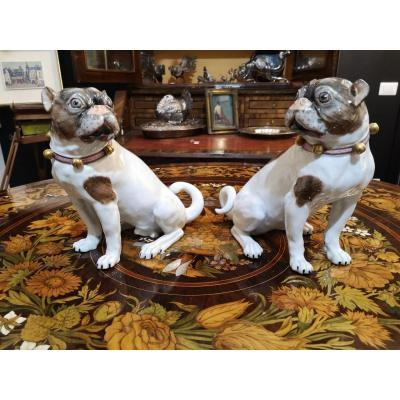 Pair Of Dresden Porcelain Dogs
