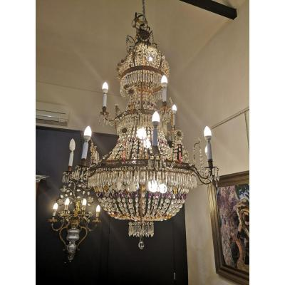 Large Chandelier In Sheet Metal And Glass Pendants, 19th Century