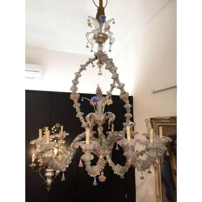 Large Murano Glass Chandelier With 12 Lights