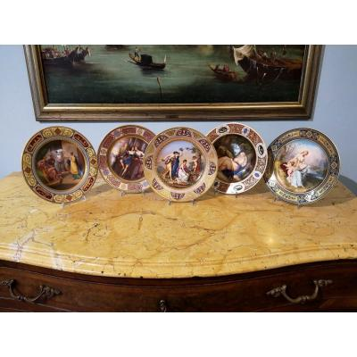 Series Of Porcelain Plates From Vienna, 19th Century
