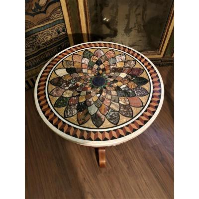 Table With Marble Top, Semi-precious Stone, Lapis, Malachite