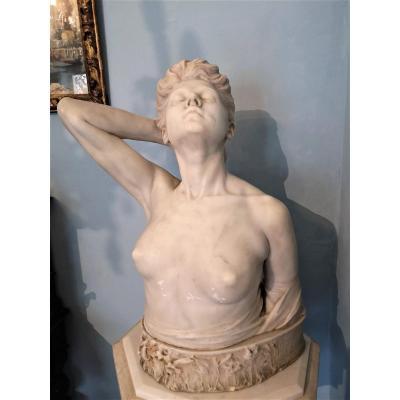 Important Buste En Marbre Blanc Statuaire De Carrare De Carlo Fait