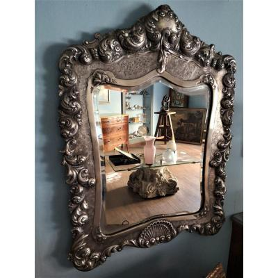 Grand Miroir Argent Massif