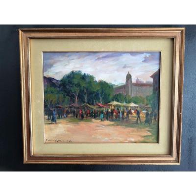 Peinture, Huile Sur Panneau, Felice Vellan, Marché De Nice