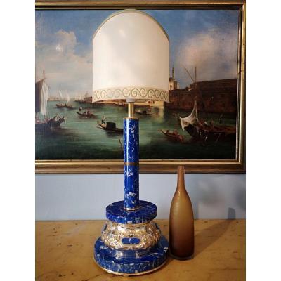 Lampe En Lapis Lazuli Et Argent