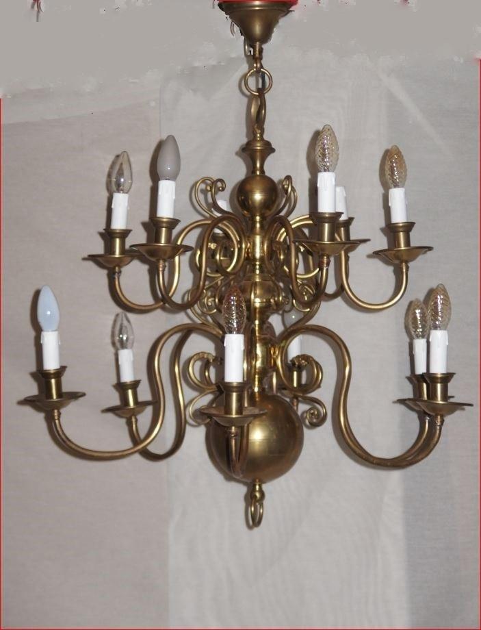 Lustre De Style Hollandais En Bronze Et Cuivre.