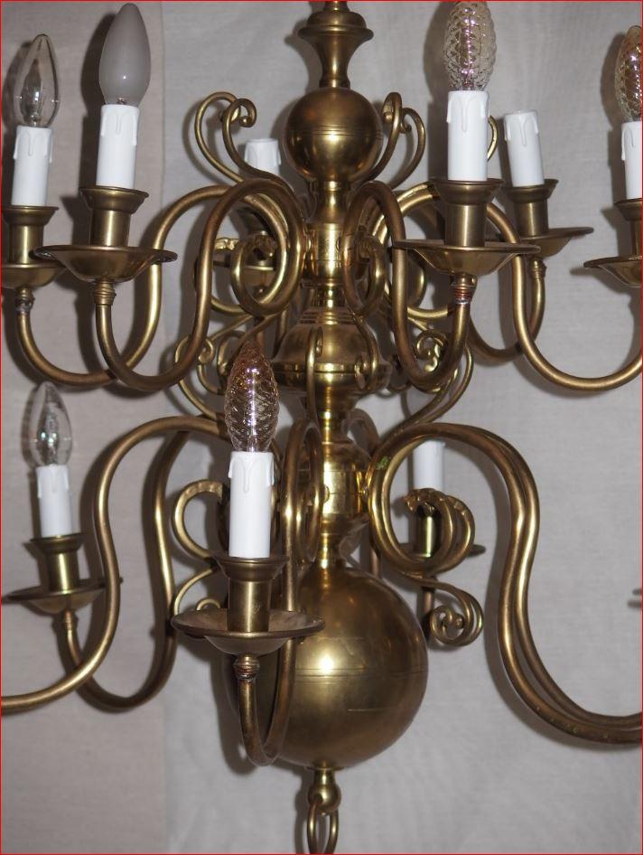 Lustre De Style Hollandais En Bronze Et Cuivre.-photo-3