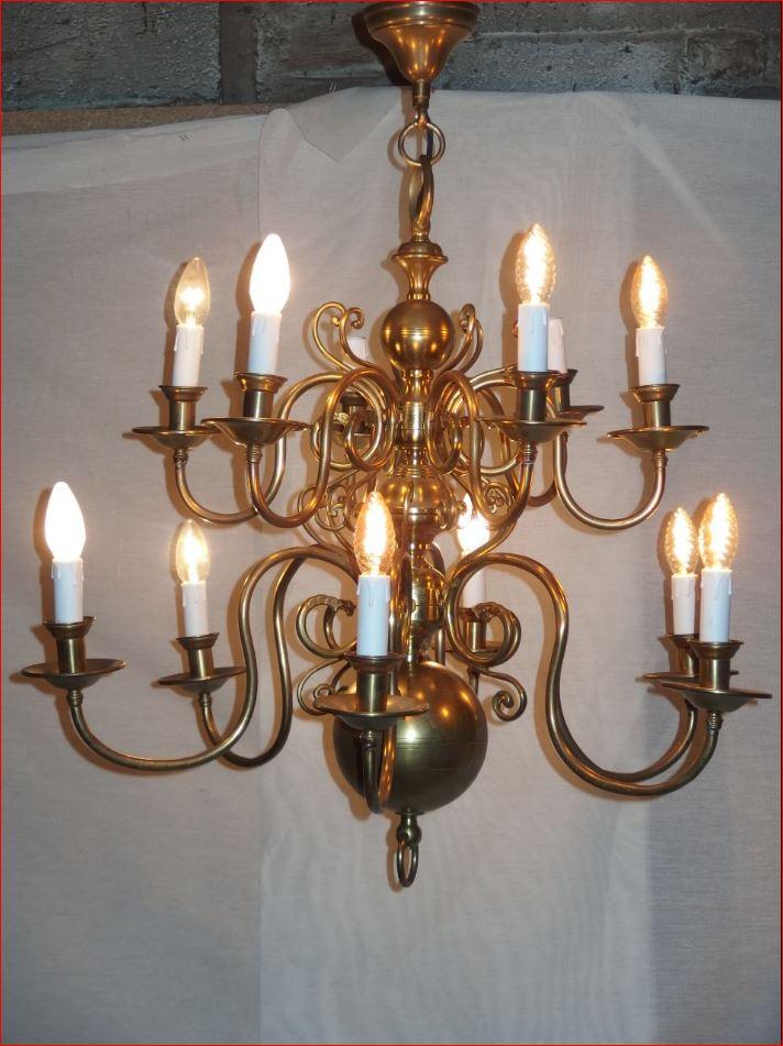 Lustre De Style Hollandais En Bronze Et Cuivre.-photo-1