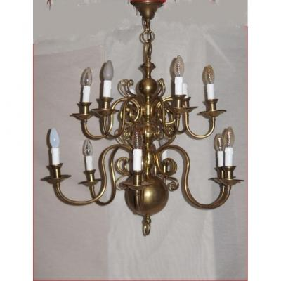 Dutch Style Chandelier In Bronze And Copper.