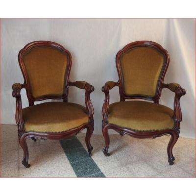 Pair Of Armchairs In Mahogany.