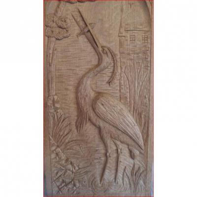 Carved Panel Representing A Heron (decoration).