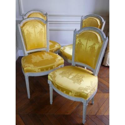 Suite Of 4 Chairs Stamped By Henri Jacob, 18th Century