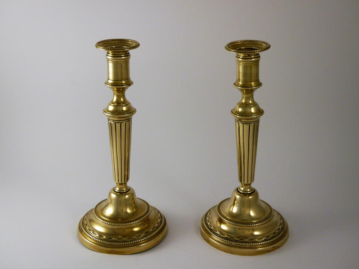 Pair Of Candlesticks In Gilded Brass, Louis XVI, 18th Century